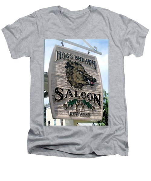 Men's V-Neck T-Shirt featuring the photograph Hog's Breath Saloon by Fiona Kennard