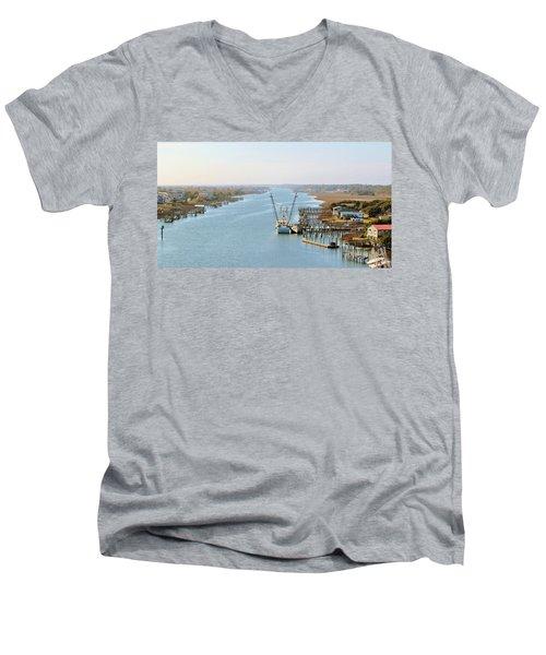 Holden Beach In Nc Men's V-Neck T-Shirt by Cynthia Guinn