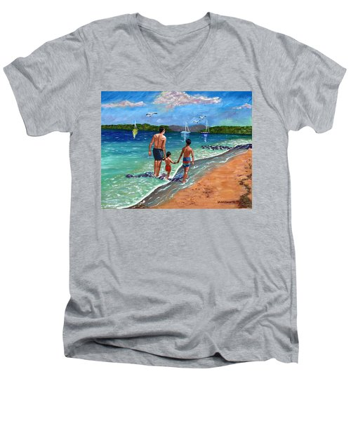 Men's V-Neck T-Shirt featuring the painting Holding Hands by Laura Forde