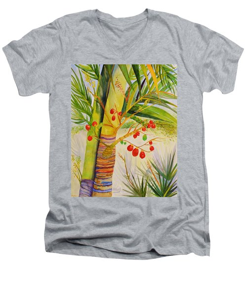 Holiday Palm Men's V-Neck T-Shirt