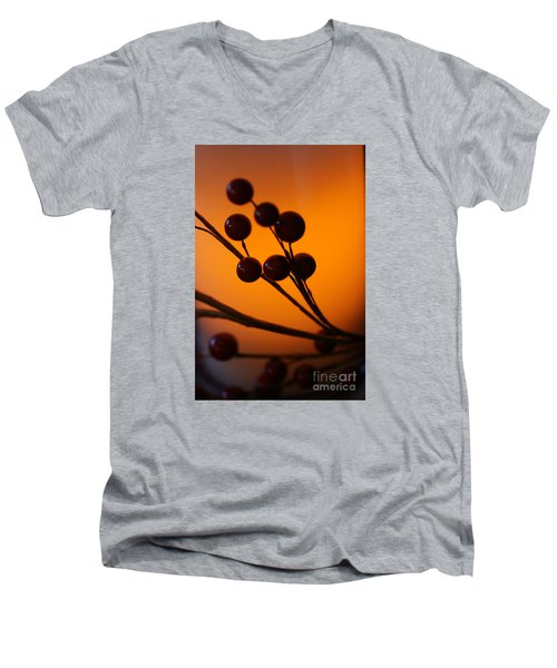 Men's V-Neck T-Shirt featuring the photograph Holiday Warmth 3 by Linda Shafer