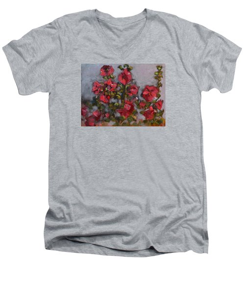 Men's V-Neck T-Shirt featuring the painting Hollyhocks by Pattie Wall