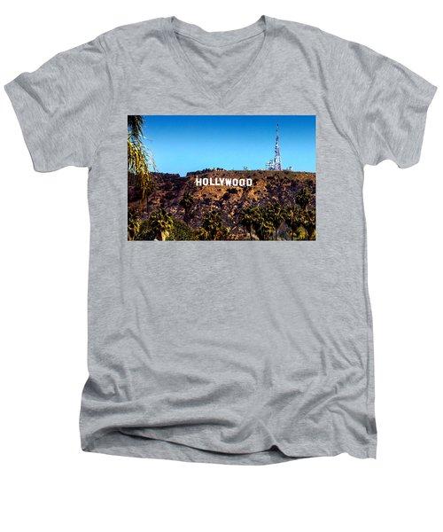 Hollywood Sign Men's V-Neck T-Shirt by Az Jackson