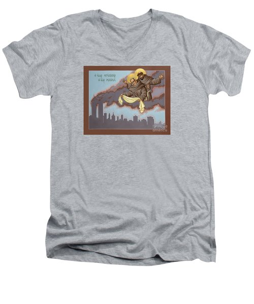 Men's V-Neck T-Shirt featuring the painting Holy Passion Bearer Mychal Judge 132 by William Hart McNichols