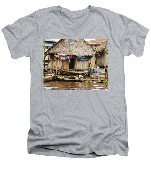 Home In Shanty Town Men's V-Neck T-Shirt by Allen Sheffield