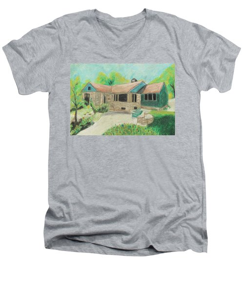 Men's V-Neck T-Shirt featuring the painting Home Sweet Home by Jeanne Fischer