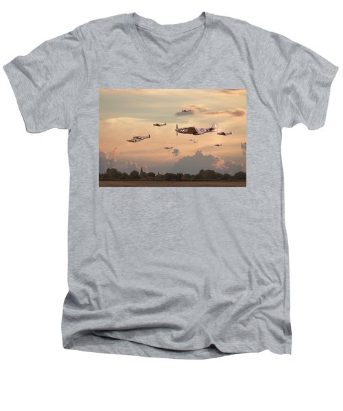 Home To Roost Men's V-Neck T-Shirt by Pat Speirs