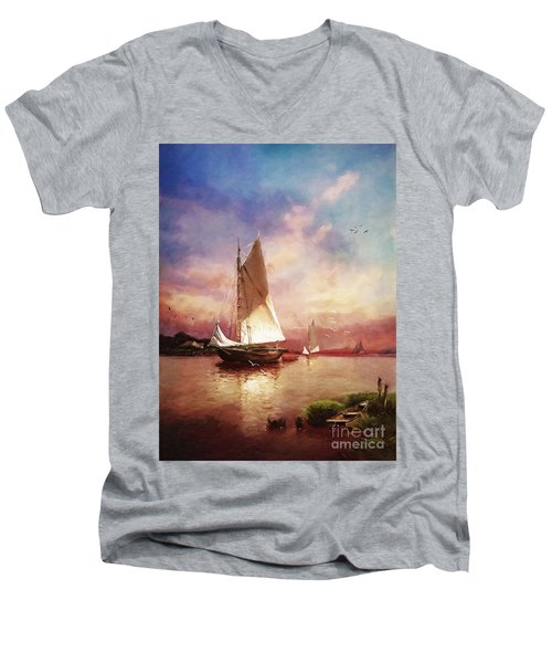 Home To The Harbor Men's V-Neck T-Shirt by Lianne Schneider