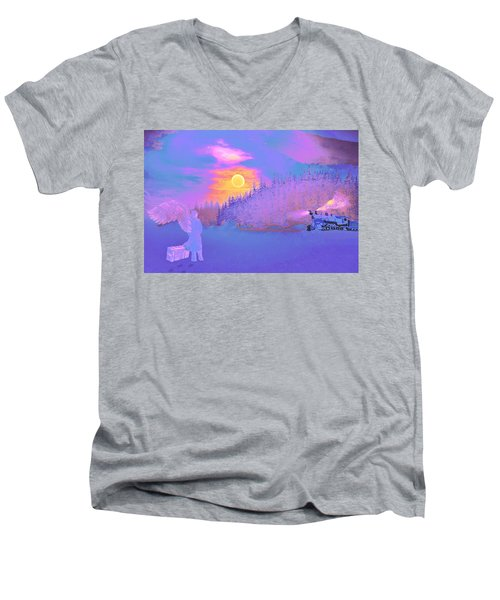 Men's V-Neck T-Shirt featuring the painting Homebound Train Angel And A Suitcase by David Mckinney
