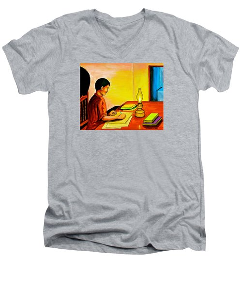 Men's V-Neck T-Shirt featuring the painting Homework by Cyril Maza