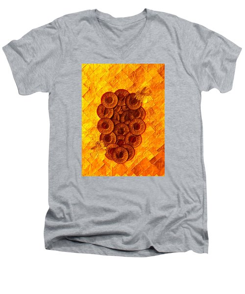 Men's V-Neck T-Shirt featuring the digital art Honeybee 2 by Lorna Maza