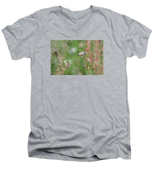 Honeybee Flying In A Meadow Men's V-Neck T-Shirt by Lucinda VanVleck