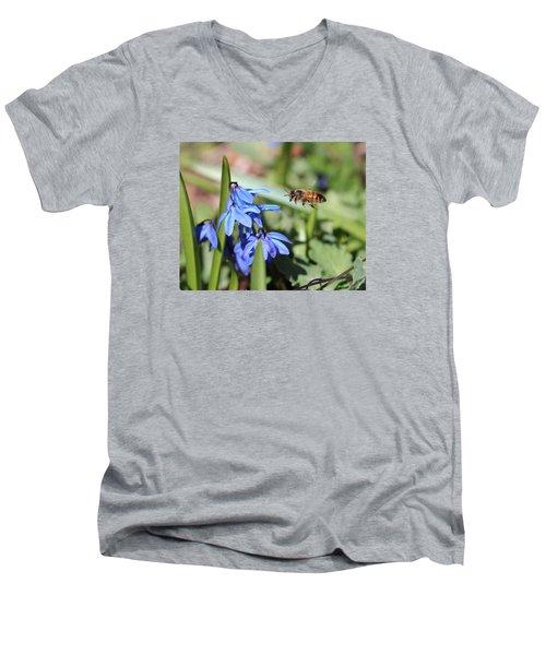 Honeybee In Flight Men's V-Neck T-Shirt by Lucinda VanVleck
