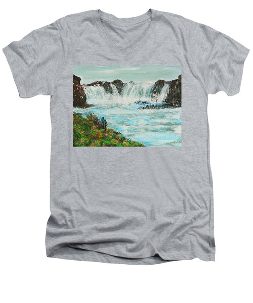 Honeymoon At Godafoss Men's V-Neck T-Shirt by Alys Caviness-Gober