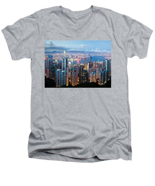 Hong Kong At Dusk Men's V-Neck T-Shirt