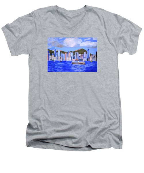 Men's V-Neck T-Shirt featuring the painting Hong Kong by Magdalena Frohnsdorff