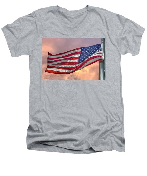 Men's V-Neck T-Shirt featuring the photograph Honoring The Heroes  by Charlotte Schafer