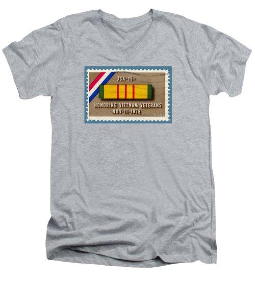 Honoring Vietnam Veterans Service Medal Postage Stamp Men's V-Neck T-Shirt by Phil Cardamone
