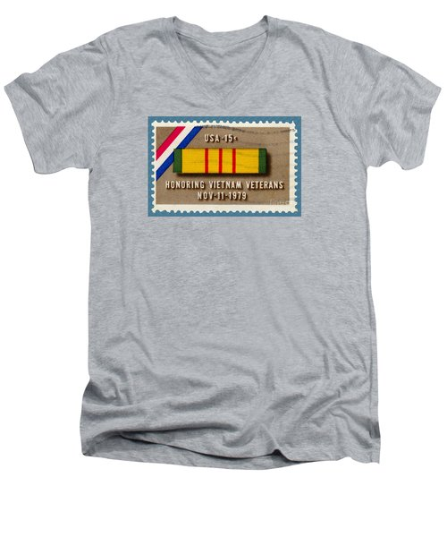 Honoring Vietnam Veterans Service Medal Postage Stamp Men's V-Neck T-Shirt