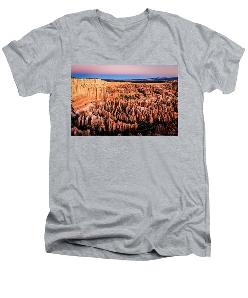 Men's V-Neck T-Shirt featuring the photograph Hoodoos At Sunrise by Peta Thames