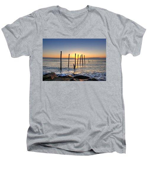 Horizon Sunburst Men's V-Neck T-Shirt by Michael Ver Sprill