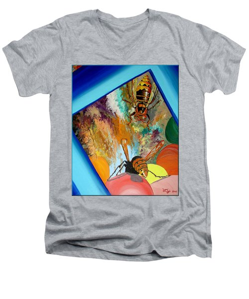 Men's V-Neck T-Shirt featuring the painting Hornets by Daniel Janda