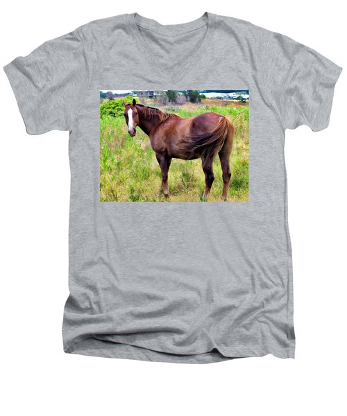 Men's V-Neck T-Shirt featuring the photograph Horse 5 by Dawn Eshelman