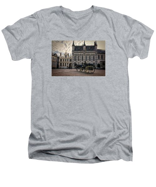 Horse And Carriage Men's V-Neck T-Shirt by Joan Carroll