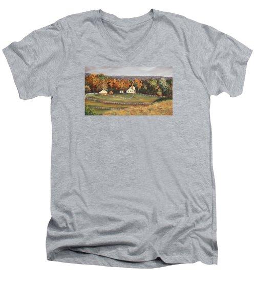 Horse Farm Men's V-Neck T-Shirt by Alan Mager
