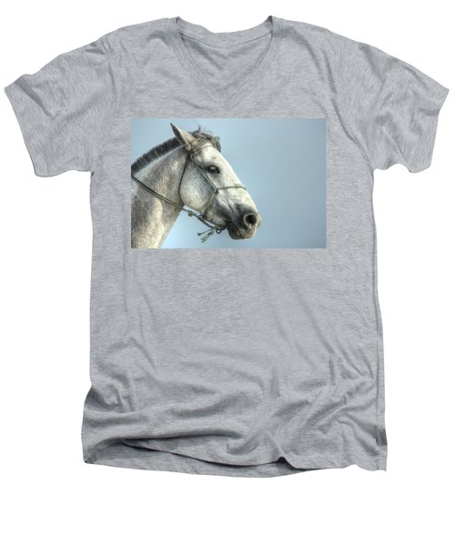 Men's V-Neck T-Shirt featuring the photograph Horse Head-shot by Eti Reid