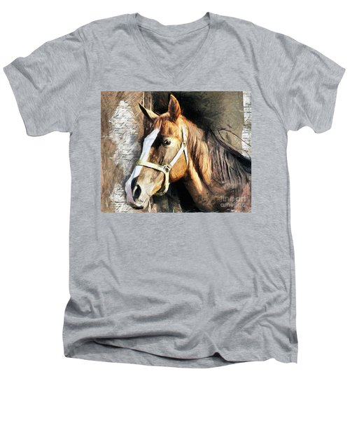 Horse Portrait - Drawing Men's V-Neck T-Shirt