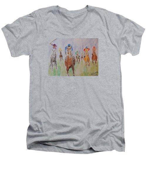 Horse Race Men's V-Neck T-Shirt