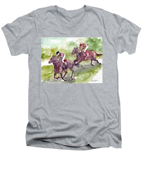 Men's V-Neck T-Shirt featuring the painting Horse Racing by Faruk Koksal