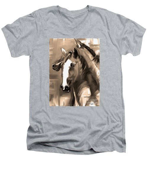 Men's V-Neck T-Shirt featuring the painting Horse Together 1 Sepia by Go Van Kampen