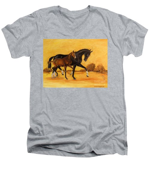 Men's V-Neck T-Shirt featuring the painting Horse - Together 2 by Go Van Kampen
