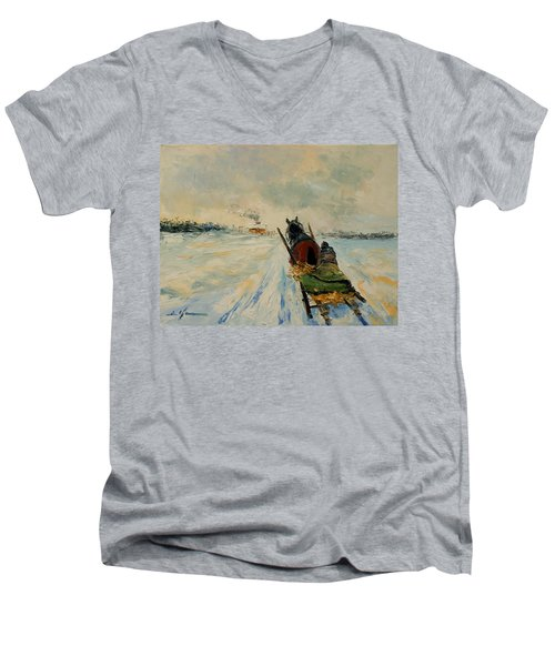 Horse With Sleigh Men's V-Neck T-Shirt
