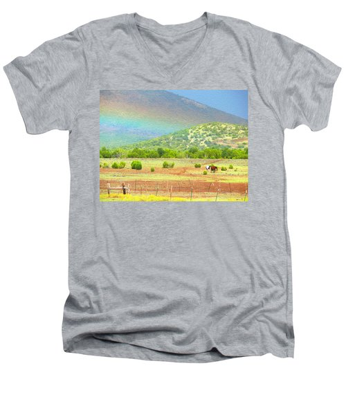 Horses At The End Of The Rainbow Men's V-Neck T-Shirt