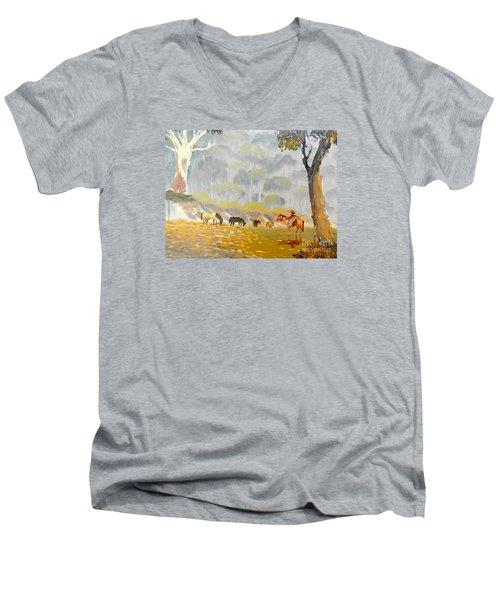 Horses Drinking In The Early Morning Mist Men's V-Neck T-Shirt