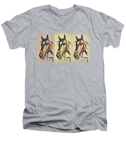 Horses Hand Drawing Men's V-Neck T-Shirt