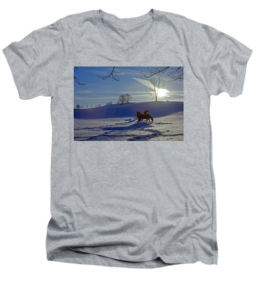 Horses In Snow Men's V-Neck T-Shirt