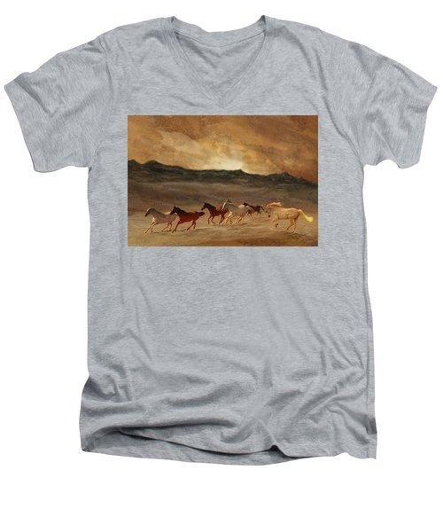 Horses Of Stone Men's V-Neck T-Shirt by Melinda Hughes-Berland