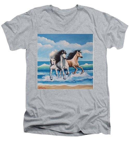 Horses On A Beach Men's V-Neck T-Shirt