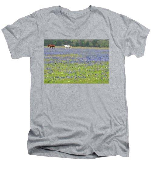 Horses Running In Field Of Bluebonnets Men's V-Neck T-Shirt