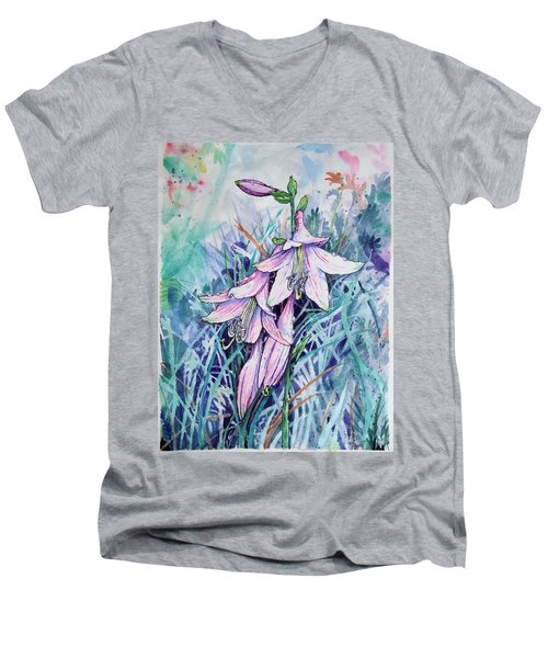Hosta's In Bloom Men's V-Neck T-Shirt