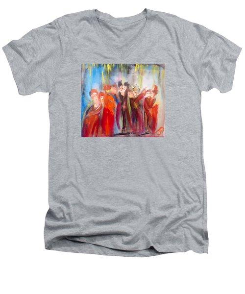 Hot Christmas Polka Men's V-Neck T-Shirt by Judith Desrosiers