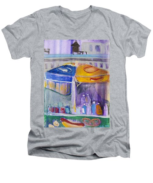 Hot Dogs  Men's V-Neck T-Shirt by Leela Payne