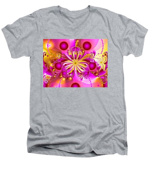 Hot Orchid Men's V-Neck T-Shirt by Sylvia Thornton