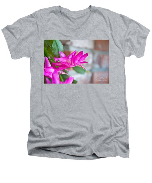 Hot Pink Christmas Cactus Flower Art Prints Men's V-Neck T-Shirt by Valerie Garner