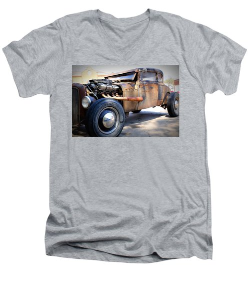 Hot Rod Men's V-Neck T-Shirt by Lynn Sprowl