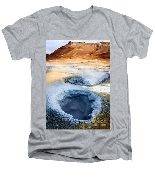 Men's V-Neck T-Shirt featuring the photograph Hot Springs At Namaskard In Iceland by Peta Thames